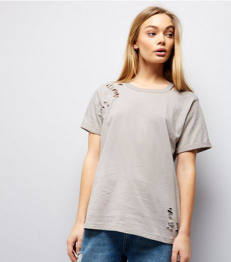 Pale Grey Cut Out Ripped Neck T-Shirt  | New Look