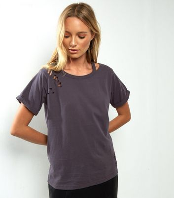 Dark Grey Cut Out Ripped T-Shirt
