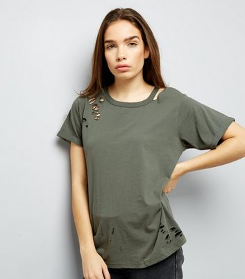Olive Green Cut Out Ripped Neck T-Shirt