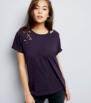 Navy Cut Out Ripped T-Shirt