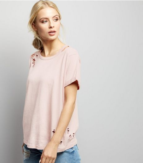 Pink Ripped Cut Out Shoulder T-Shirt | New Look