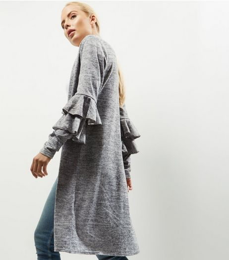 Pale Grey Brushed Frill Trim Long Sleeve Cardigan | New Look