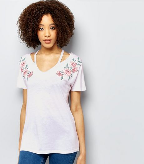 White Floral Embroidered Style Cut Out T-Shirt  | New Look
