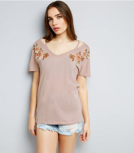 Pink Floral Embroidered Cut Out T-Shirt  | New Look