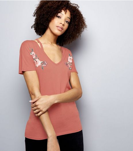 Deep Pink Floral Embroidered Cut Out T-Shirt  | New Look