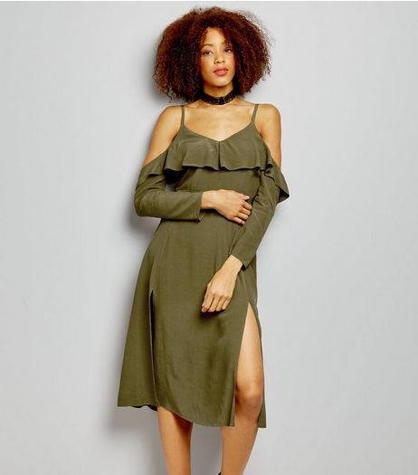 Khaki Frill Trim Cold Shoulder Split Side Midi Dress  | New Look