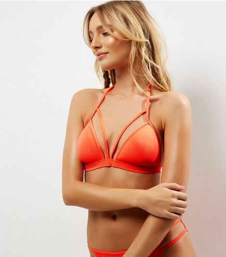 Orange Strappy Moulded Triangle Bikini Top | New Look