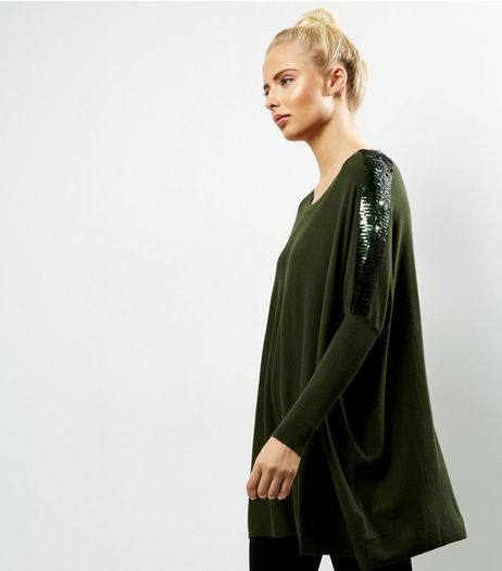 Blue Vanilla Green Sequin Sleeve Oversized Top | New Look