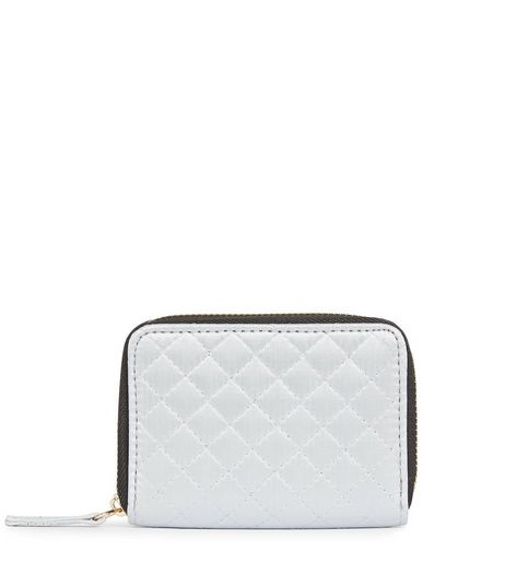 White Quilted Cardholder | New Look
