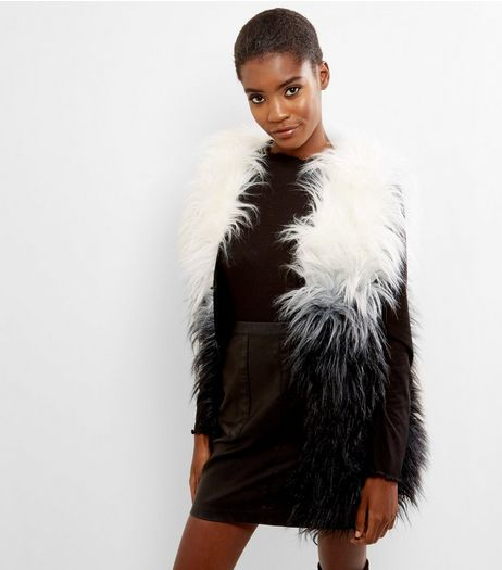 Blue Vanilla White Contrast Faux Fur Gillet | New Look