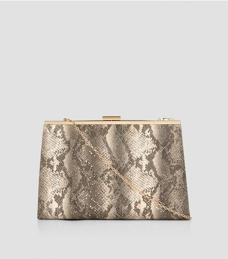 Stone Metallic Snakeskin Texture Clutch | New Look