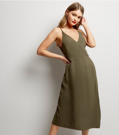 Blue Vanilla Khaki Lattice Back Midi Dress  | New Look