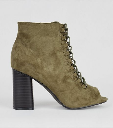 Wide Fit Khaki Suedette Lace Up Open Toe Boots  | New Look