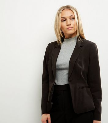 Petite Black Button Front Suit Jacket