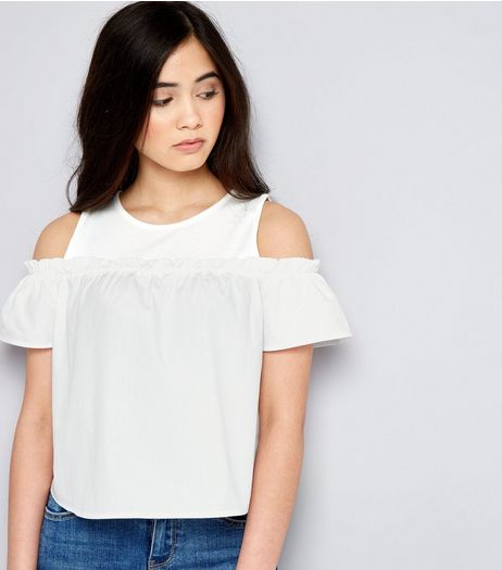 Teens White Frill Trim Cold Shoulder Top | New Look