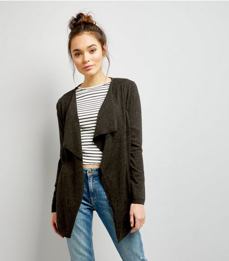 Khaki Fine Knit Waterfall Cardigan  | New Look