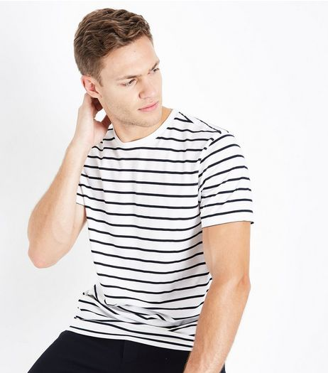 White Stripe Crew Neck T-Shirt | New Look