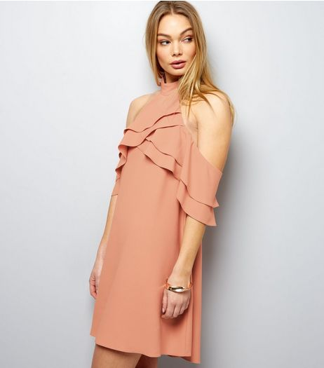 Shell Pink Halter Neck Cold Shoulder Shift Dress | New Look