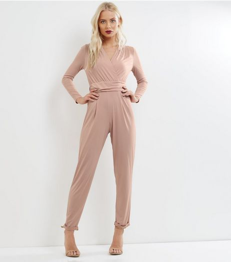 Pink Wrap Front Long Sleeve Jumpsuit | New Look