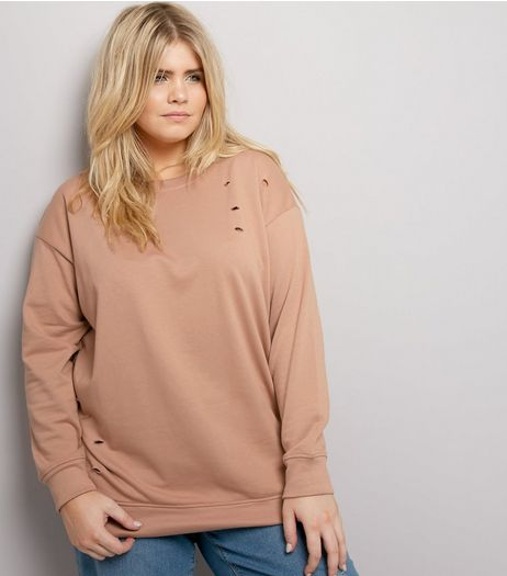 Curves Stone Ripped Sweater | New Look