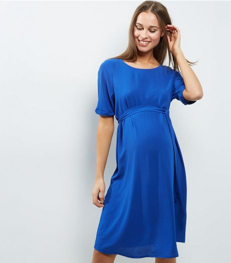 Maternity Blue Crepe Belted Tunic Dress | New Look