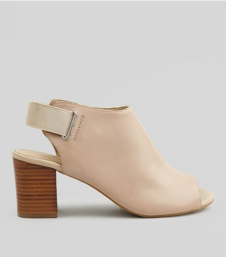 Nude Comfort Leather Peep Toe Sling Back Heels | New Look