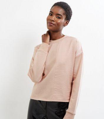 Shell Pink Sateen Panel Long Sleeve Sweater