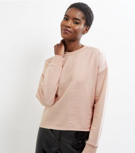 Shell Pink Sateen Panel Long Sleeve Sweater  | New Look