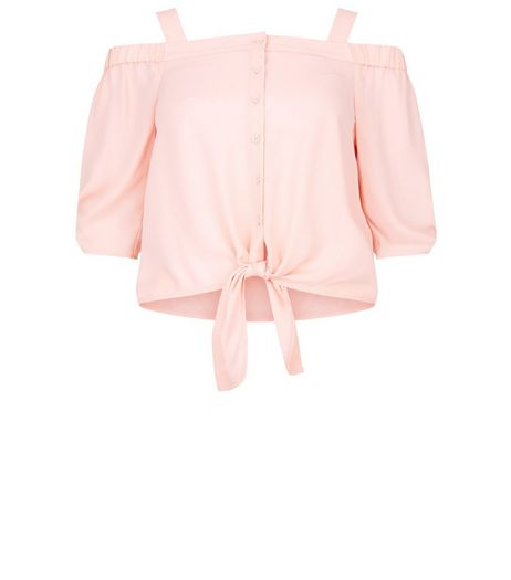 Teens Pink Cold Shoulder Bardot Neck Tie Front Top | New Look