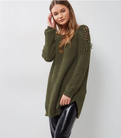 Loving This Khaki Ladder Side Longline Jumper | New Look