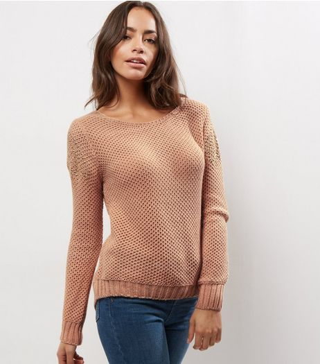 Loving This Pink Bead Embellished Trim Jumper  | New Look