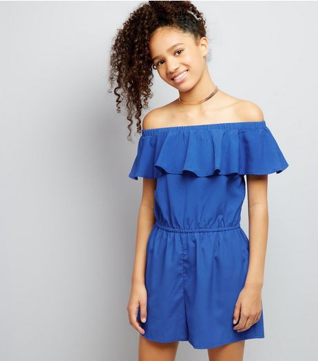 Teens Blue Frill Trim Bardot Neck Playsuit | New Look
