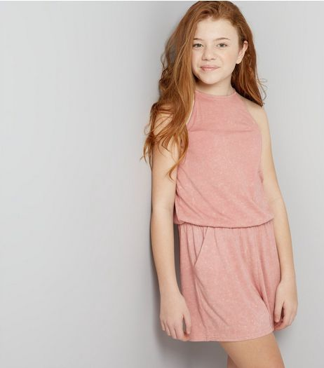 Teens Pink Acid Wash Playsuit | New Look