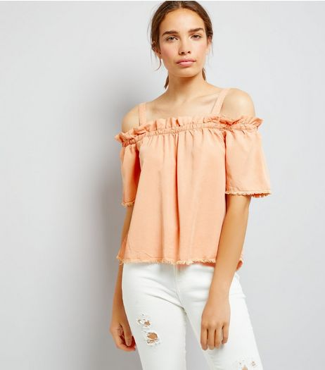 Noisy May Coral Frill Trim Cold Shoulder Top | New Look