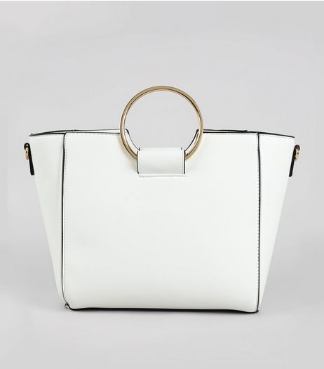 White Drawstring Ring Handle Tote Bag | New Look
