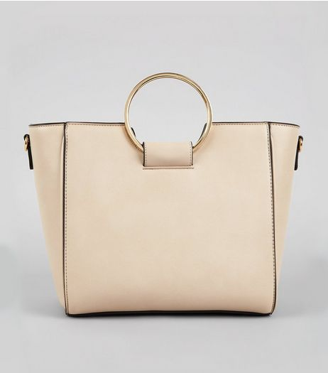 Cream Drawstring Ring Handle Tote Bag | New Look