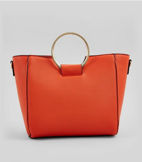 Orange Drawstring Ring Handle Tote Bag | New Look