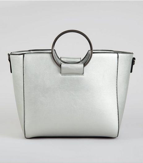 Silver Drawstring Ring Handle Tote Bag | New Look