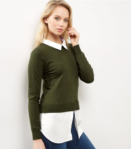 QED Khaki 2 in 1 Jumper | New Look