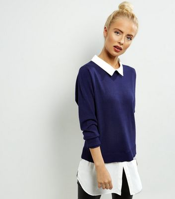 Product photo of Qed navy 2 in 1 jumper