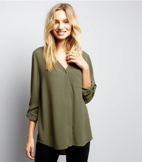 Khaki Pocket Front V Neck Shirt | New Look