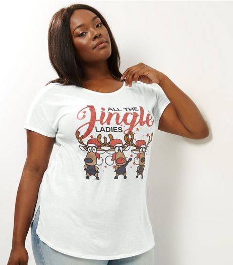 Curves White All The Jingle Ladies T-Shirt | New Look