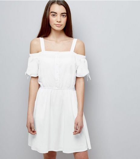 Teens White Button Front Cold Shoulder Dress | New Look