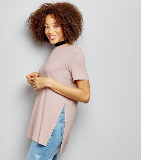 Pink Longline Split Side Ribbed Tunic  | New Look