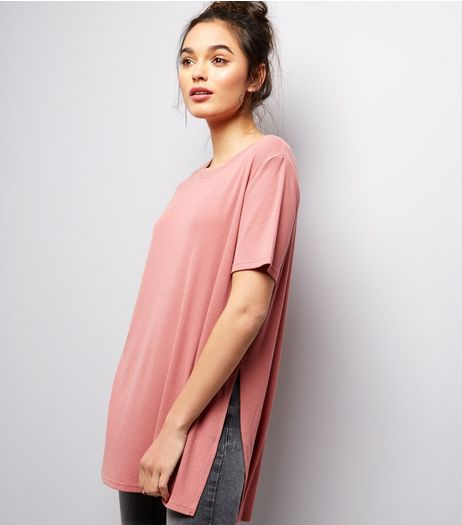 Deep Pink Longline Split Side Ribbed Tunic  | New Look