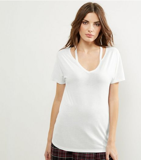 White Cut Out Neck Short Sleeve T-Shirt  | New Look