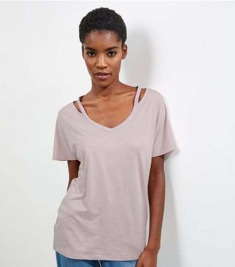 Pink Cut Out Panel Short Sleeve T-Shirt  | New Look