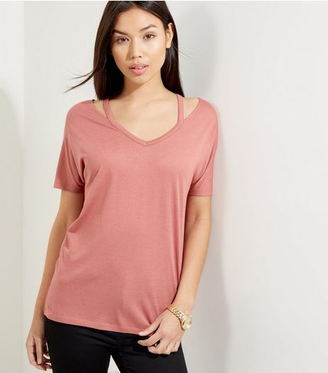 Deep Pink Cut Out Trim T-Shirt  | New Look