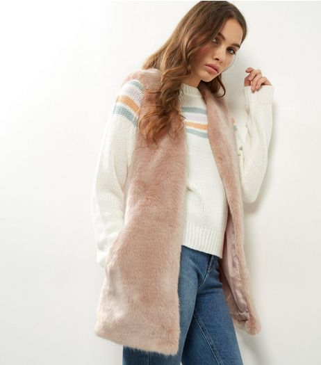 Shell Pink Faux Fur Gilet  | New Look