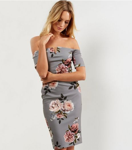 Grey Floral Print Bardot Bodycon Dress | New Look